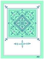 Carte double 10-15 geo turq